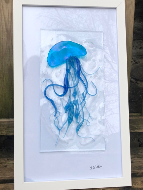 Turquoise Jellyfish Fused Glass Picture - gifts, homedecor, birthday, handmade, ocean, seaside, bathroom, wedding, blue
