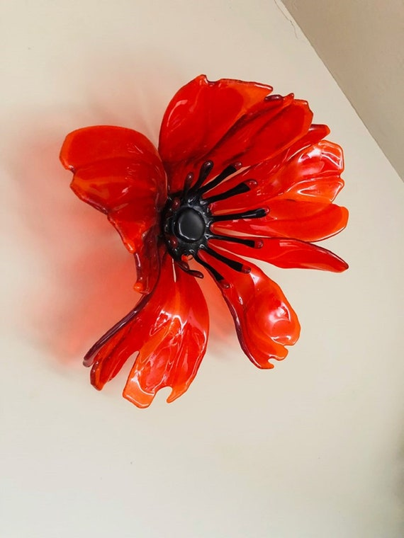 Large Red Glass Poppy With Wall Mounting - Made to order, poppies, flowers, handmade, homedecor, birthday, ruby, wedding, anniversary, mum