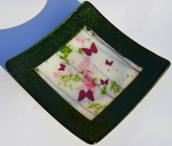 Sparkly Green & Pink Square Butterfly Glass Candy Dish - Birthday, Trinket, mum, Candle, christmas, nan, sister, wedding, engagement