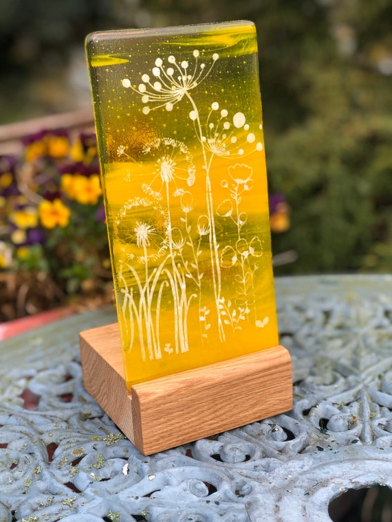 Yellow Glass Floral Panel - Mother's Day, gifts, birthday, flowers, cow parsley, dandelion, home v2