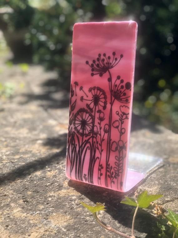 Pink Meadow Glass Panel - handmade, gift, flowers, dandelions, garden, birthday, homedecor, seed heads, cow parsley, handmade