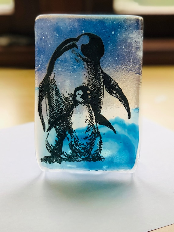 Glass Penguin Tealight Holder- Penguin Glass Gifts, gifts for him, animal gifts, artic penguin, candle gifts, handmade penguin gift, birds