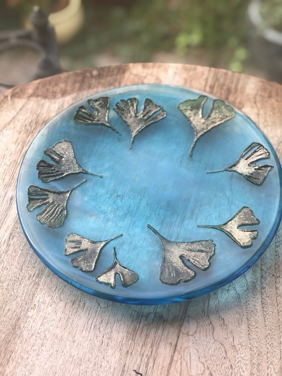 Turquoise Glass Dish / Platter with Ginkgo Biloba Leaves - 50th, 60th, 70th, anniversary, milestone birthday, leaf design, plant lover, mum