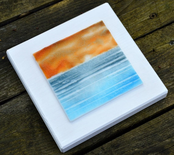 Wood Mounted Glass Beach Picture Orange Sunset - seaside, birthday, homedecor, gifts, bathroom, art, handmade, holiday, ocean, wedding, mum