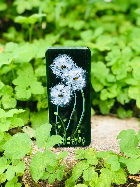 Green Glass Dandelion Tea Light Holder - emerald, wedding anniversary, retirement, 50th, 60th, 70th, 80th, candle holder, dock, nature