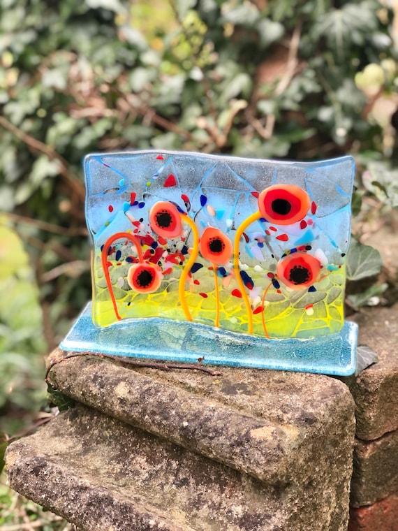 Orange Glass Poppy Standing Panel - poppy gifts, poppies, glass flowers, flower glass panel, milestone birthday, ruby wedding, anniversary