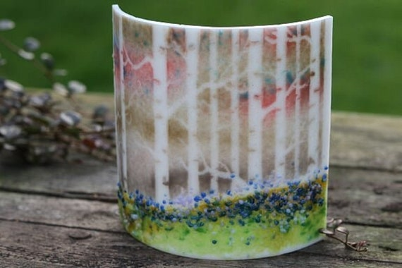 Birch Tree Curved Glass Panel - birthday, friend, gift, sister, nan, candle, suncatcher, gifts, window, homedecor, trees, nature, bluebells