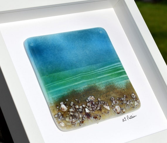 Fused Glass Beach Scene in Box Frame - Sun, Sea, Ocean, seascape, home decor, bathroom, gift, wedding, engagement, anniversary, mum, seaside