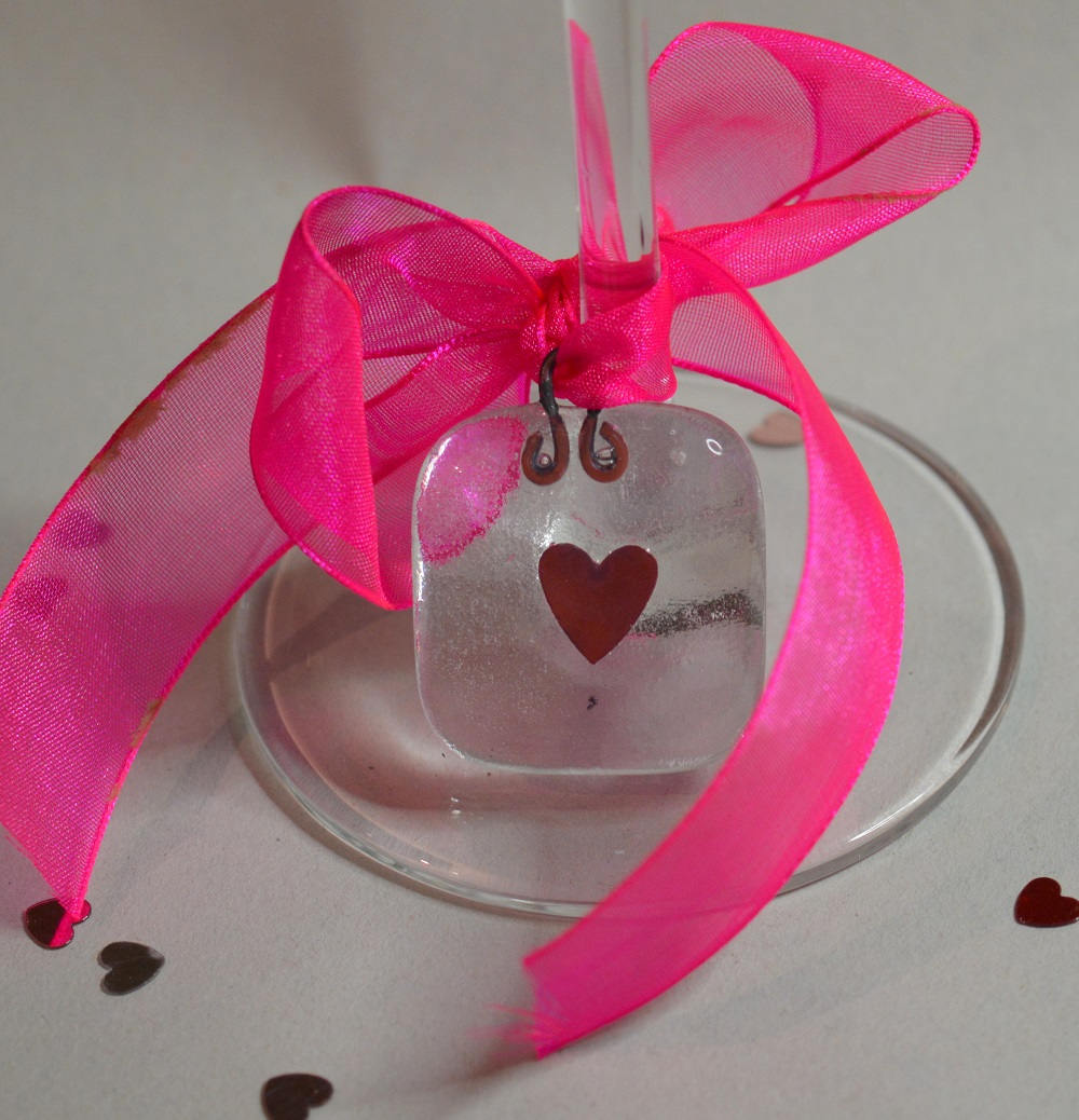 Copper Heart Glass Gift Tag or Wedding Favour Made to Order ...