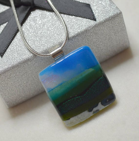 Green Fields Landscape Pendant with Sterling Silver Bail and Snake Chain - gifts, christmas, birthday, necklace, jewellery, handmade, mum