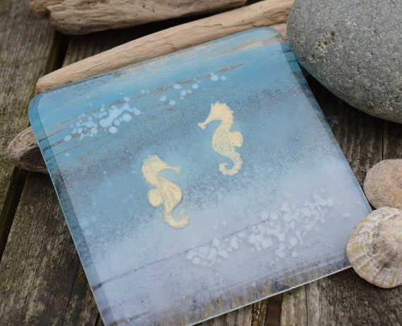 Gold Seahorse Ocean Coasters x 4 - Made to Order, beach, birthday, gift,present, seaside, wedding, handmade, blue, homedecor, mum, ocean