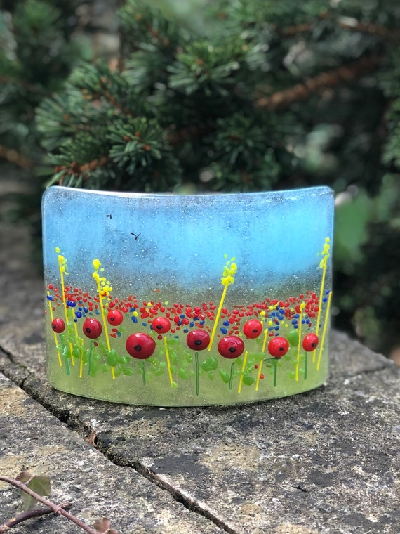 Glass Poppy Field Standing Panel - poppy gifts, glass poppy, ruby wedding anniversary, glass flowers, poppy meadow, gifts for nan, mum gift