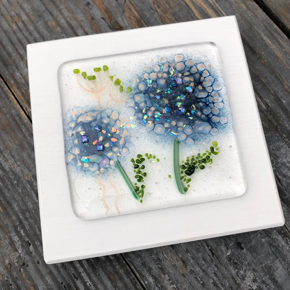 Dark Blue Hydrangea Glass Art Picture - gifts, birthday, flower, delphiniums, homedecor, flowers, mum, birthday, wedding, garden, present