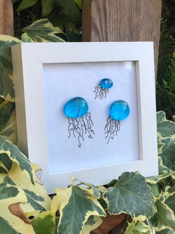 Blue Glass Jellyfish Pebble Picture - 30th, 40th, 50th, pebble fish, jellyfish picture, pebble art, jellyfish gifts, coastal art, sea glass