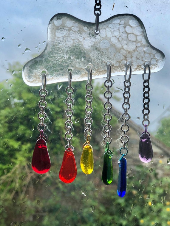 Storm Cloud Glass Rainbow Suncatcher - Gifts, handmade, raindrops, gifts for her, gifts for mum, homedecor, stained glass, birthday