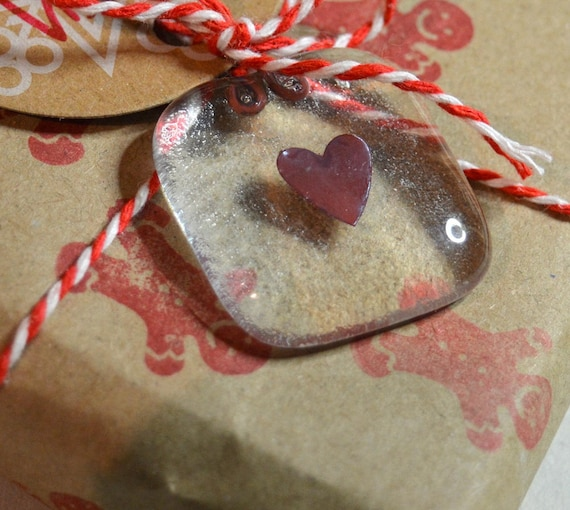 Copper Heart Glass Gift Tag or Wedding Favour - giftwrap, wrapping, table, love