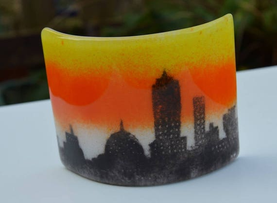 Cityscape Curved Glass Panel - birthday, friend, gift, sister, nan, candle, suncatcher, gifts, window, homedecor, buildings, sconce, city