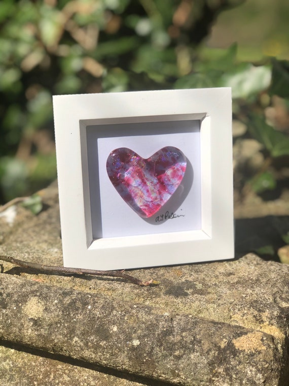Pink Sparkly Glass Heart in frame - glass heart, heart picture, wedding gift, anniversary gift, engagement, love, dichroic, 18th birthday