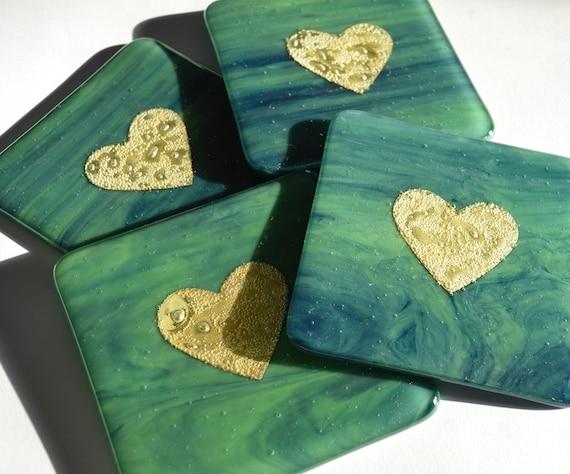Dark Green/Blue Gold Heart Glass Coasters x 2 - Wedding, engagement, anniversary, golden, present, gift, birthday, homedecor, dining, drinks