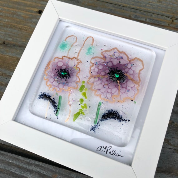 Purple Poppy Glass Art Picture - gifts, birthday, flower, homedecor, flowers, mum, wedding, garden, present, ruby, poppies