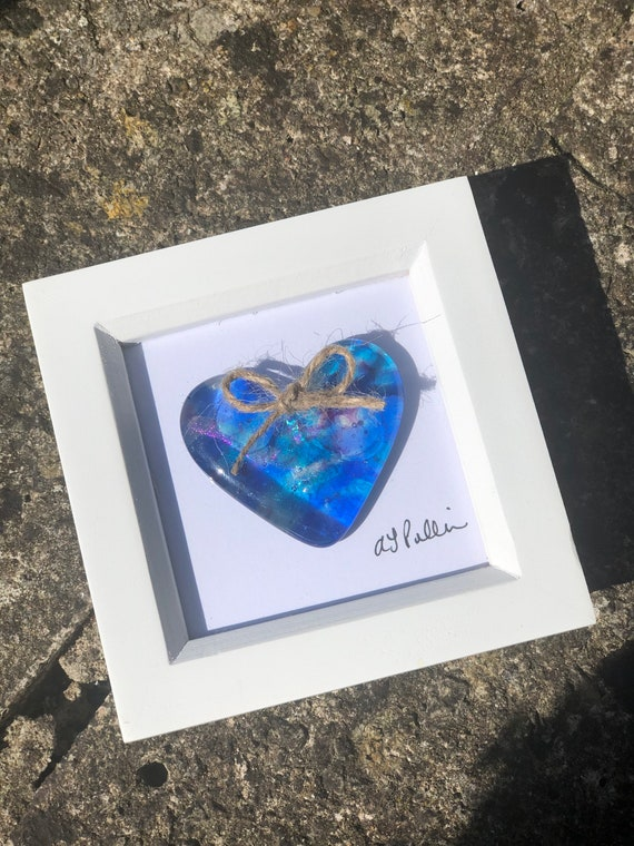 Blue Sparkly Glass Heart in frame - glass heart, heart picture, wedding gift, anniversary gift, engagement, love, dichroic, 18th birthday
