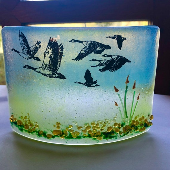 Canadian Geese Glass Standing Panel - handmade, gift, sky, birds, homedecor, nature, suncather, gifts for him, male, goose, flying