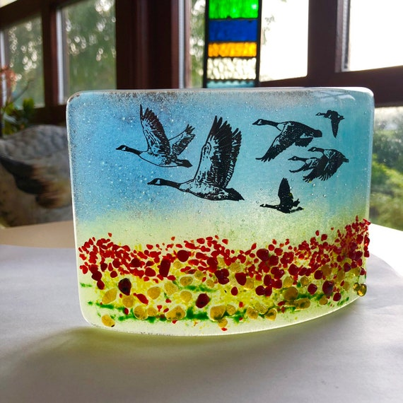 Canadian Geese Glass Standing Panel - handmade, gift, sky, birds, homedecor, nature, suncather, gifts for him, male, goose, poppy, poppies