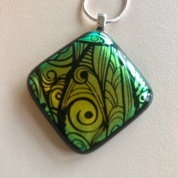 Funky Green Patterned Dichroic Glass Pendant Necklace with Sterling Silver Chain - gift, birthday , jewellery, handmade, leaves, Christmas