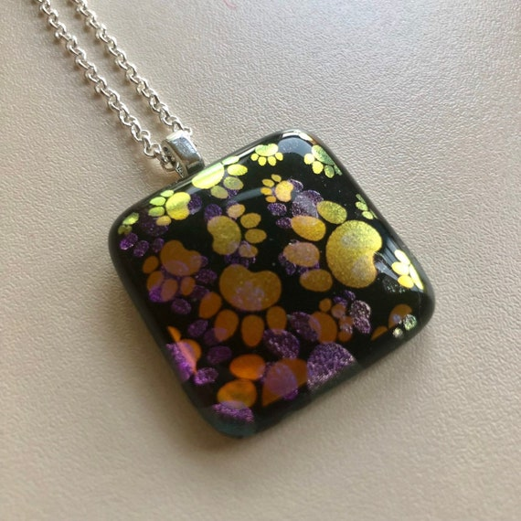 Paw Print Gold Dichroic Glass Pendant Necklace with Sterling Silver Chain - gift, birthday, birds, jewellery, handmade, pretty, present