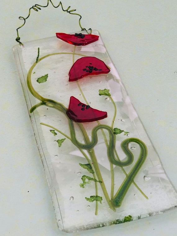 Red Glass Poppy Wall Hanging / Picture - poppies, glass poppy, glass flower, 50th, 60th, 70th, ruby wedding, retirement, grandparent, mum