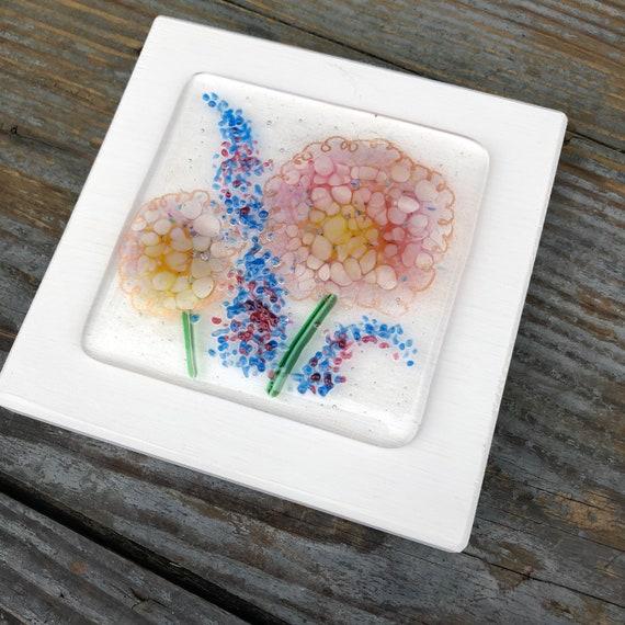 Pink Hydrangea Glass Art Picture - gifts, birthday, flower, delphiniums, homedecor, flowers, mum, birthday, wedding, garden, present