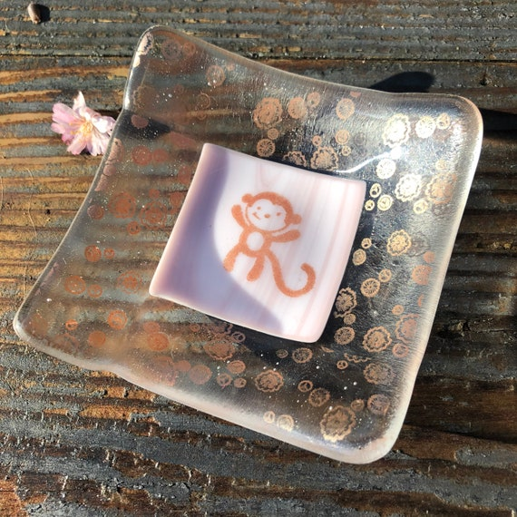 Cheeky Monkey Lilac & Bronze Trinket Dish- Birthday, Gift, dressingtable, bedroom, girls, 21st, 18th, gift, gifts, friend, cute, earrings