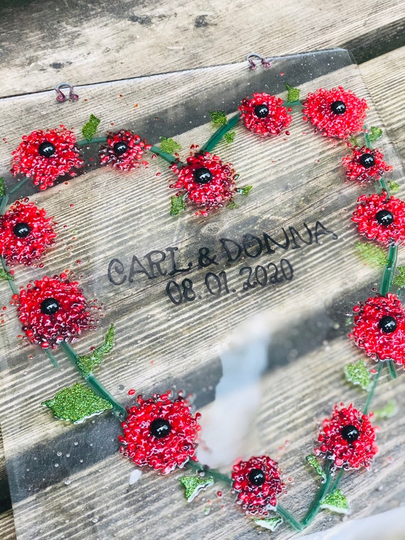 Glass Poppy Heart Commemorative Wall Hanging - Made To Order - Wedding, Anniversary, Memorial, ruby wedding, personalised, celebration