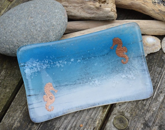Seahorse Couple Glass Soap Dish Made to Order- birthday, gifts, homedecor, bespoke, handmade, wedding, cute, ocean, bathroomdecor, seaside