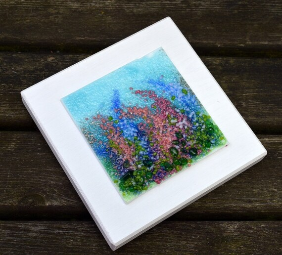 Wood Mounted Glass Delphinium Picture - flowers, birthday, homedecor, gifts, art, handmade, wedding, mum, floral, seaside, foxglove, pretty
