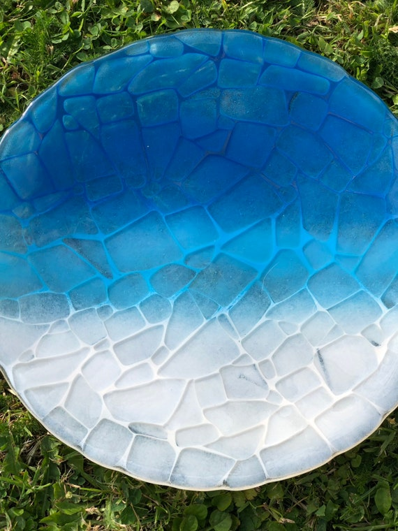 Fused Glass Round Decorative Ocean Ombre Plate / Dish / Platter - Gift, Birthday, blue, home decor, beach, handmade, seaside, bathroom
