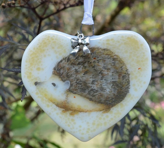 Cute Heart Hedgehog Glass Hanging Decoration - birthday, british, wildlife, homedecor, bedroom, gifts, mum, girlfriend, sister, handmade