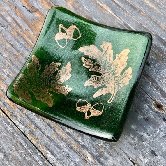 Sparkly Green Copper Leaf Trinket Dish- Birthday, Oak, acorn, Gift, dressingtable, bedroom, girls, trees, nature, handmade, homedecor