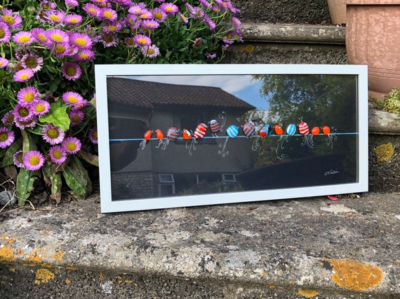 Crazy Bird Glass Pebble Picture - gifts, birthday, long, art, cute, wedding, anniversary, cute, kids, room, home decor