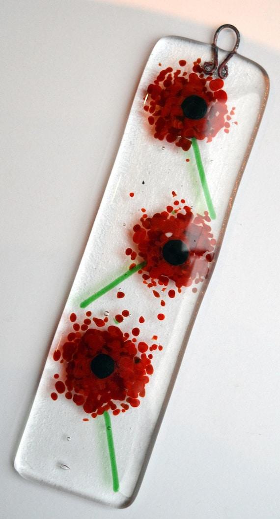 Red Poppy Glass Floral Suncatcher - Made to Order, poppies, poppy suncatcher, glass poppy, glass flower, poppy gifts, ruby wedding, window