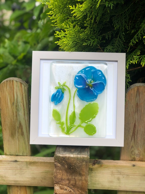 Blue Glass Pansy Picture- birthday, gifts for her, gifts for Nan, 70th birthday, pansies, flower picture, 60th birthday, 50th birthday, mum