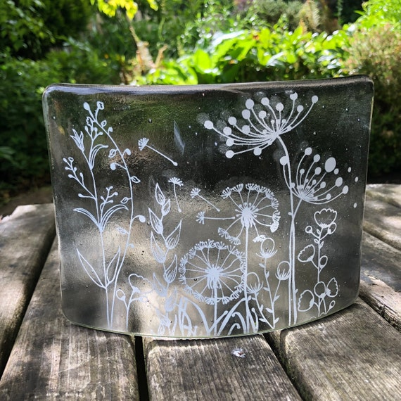 Transparent Grey Free Standing Glass Curve with white seed head decoration - silver wedding anniversary gifts, wedding anniversary gifts