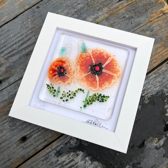 Red Poppy Glass Art Picture - gifts, birthday, flower, homedecor, flowers, mum, wedding, garden, present, ruby, poppies