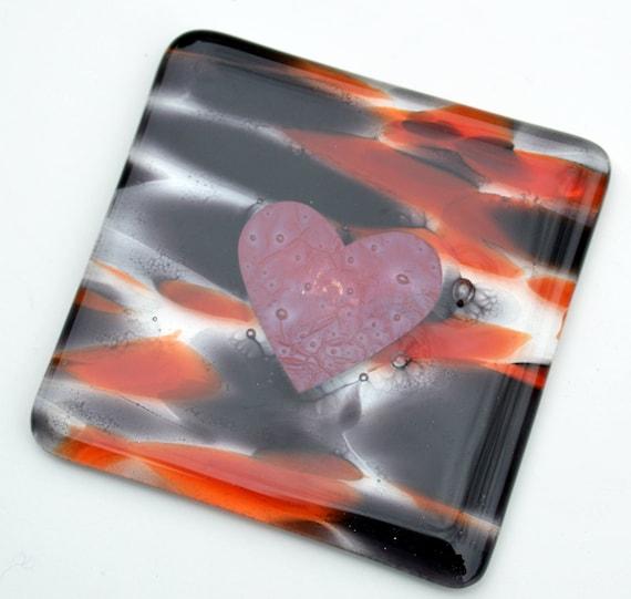 Tiger Glass Copper Heart Coasters x 1 - flower, birthday, gift, valentines, mum, home decor, tea, coffee, drinks, wedding, engagement, love