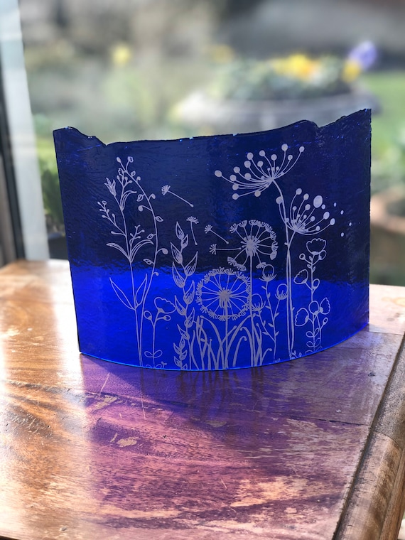 Transparent Blue Glass Curve with Seed Heads - gifts, Mother's Day, birthday, wedding, anniversary, cow parsley, flowers, homedecor, garden