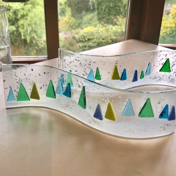 Glass Christmas Tree Curve Panel - Made To Order, Ornaments, Snow, Gifts, Suncatcher