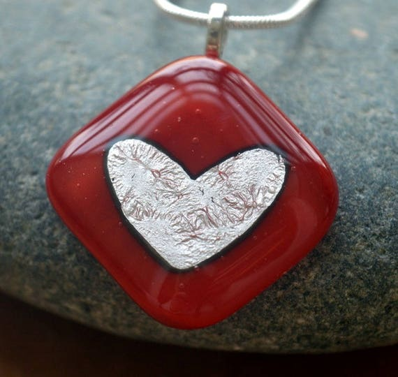 Red Glass Necklace With Silver Heart - birthday, christmas, secretsanta, gifts, love, engagement, friend, jewellery, handmade, bespoke, uk