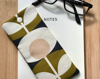 Glasses Case made from Oval Stem Fabric -Padded -Handmade