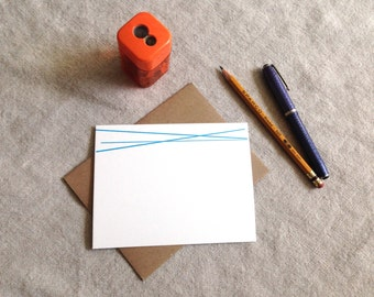 Bright Lines Note Card - Turquoise