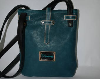 Teal and Veg Tan Leather Crossbody Purse